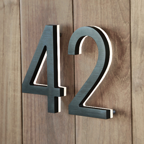 Illuminated house numbers garden at home house numbers for Modern house numbers canada